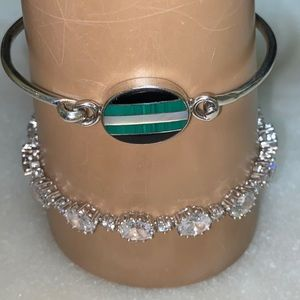 Crystal Tennis Heart Vintage Bracelet Stauer 925